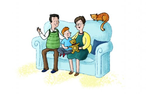 Grandparents of sofa with child and cat