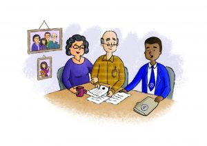 Couple receiving advice from a legal advisor